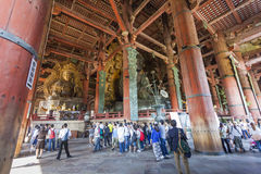 NARA JAPAN - MAJ 11: Den stora Buddha i den onMay Todai-ji templet Arkivfoton