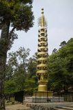 Nara, Japan - May 31, 2017: On asoka pillar monument, the replica was erected on the occasion of the All Japan Young Buddhist. Assocation`s Thousand-Priests` royalty free stock photography