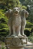 Nara, Japan - May 31, 2017: Stone statue of four lions as symbol Royalty Free Stock Photography