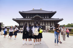 Nara, Japan- May 2016:Todaiji Temple in Nara Park. This is the biggest wooden temple in the world Stock Photos