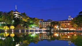 Nara Japan på Sarusawa sjön Arkivfoton