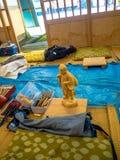 Nara Japonia, Lipiec, - 26, 2017: Zamyka up piękny Buddha robić drewno w Japonia Zdjęcia Royalty Free