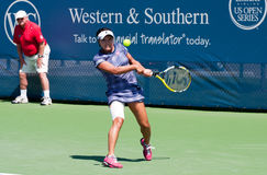 Nara 006. Mason, Ohio - August 16, 2015: Kurumi Nara returns a shot in first round action at the Western and Southern Open in Mason, Ohio, on August 16, 2015 Stock Photos