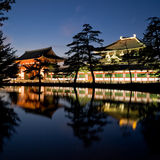 Nara Todaiji temple. Illuminated evening view of the gate and wall surrounding Todai-ji temple with a pond in the foreground in Nara, Japan. Todai-ji temple royalty free stock photography