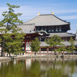 Nara Todaiji temple. View of the inner gate and wall surrounding Todaiji temple with a pond in the foreground in Nara, Japan. Todaiji temple can be seen in the royalty free stock image
