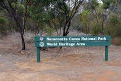 Naracoorte Caves National Park South Australia. A wooden sign of Naracoorte Caves National Park in Naracoorte South Australia royalty free stock images