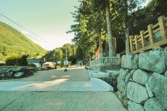 Narai软的焦点是一个小镇在长野县日本 免版税图库摄影