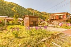 Narai软的焦点是一个小镇在长野县日本 免版税库存图片