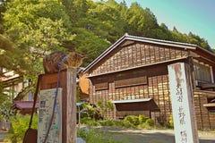 NARAI JAPAN - JUNI 4, 2017: Grå katt på en träpol på Narai Arkivfoton