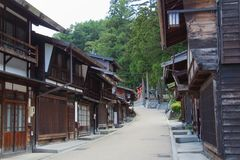 Narai-juku z torii bramą zdjęcia royalty free