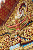 Narai Song Suban. Image on the gable of Buddhist temple in Bangkok ,Thailand Royalty Free Stock Photo