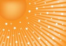 Naranja abstracta del fondo con las estrellas blancas Fotografía de archivo libre de regalías