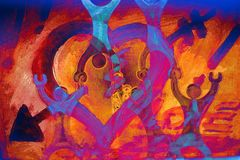 Naranja/azul del cartel del amor Imagenes de archivo