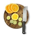 Naranja, cal y un cuchillo Imagenes de archivo
