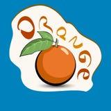Naranja con el título en la etiqueta Etiqueta engomada con el producto del eco y Foto de archivo