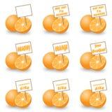 Naranja con la etiqueta Fotografía de archivo libre de regalías