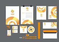 Naranja con la plantilla de la identidad corporativa del círculo para su negocio Fotografía de archivo libre de regalías