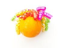 Naranja con los enrollamientos 3 Foto de archivo libre de regalías