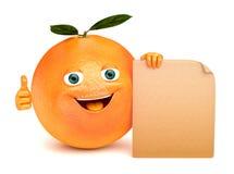 Naranja con una muestra Foto de archivo libre de regalías