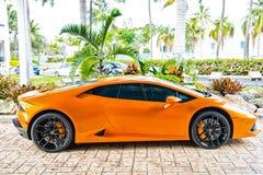 Naranja de Lamborghini Aventador del Supercar Fotos de archivo libres de regalías