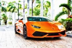 Naranja de Lamborghini Aventador del Supercar Fotos de archivo