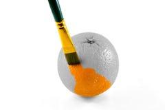 Naranja de pintura del cepillo Imagen de archivo libre de regalías