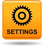 Naranja del botón del web de los ajustes fotografía de archivo