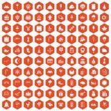 naranja del hexágono de los iconos de los partidos de 100 niños ilustración del vector