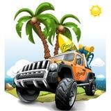 Naranja extrema del vehículo de camino SUV en una playa Ilustración del vector libre illustration