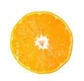 Naranja fresca cortada aislada en blanco imagenes de archivo