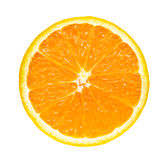 Naranja fresca de la media rebanada aislada en el fondo blanco Fotografía de archivo