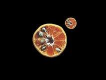 Naranja fresca en negro-aislado fotos de archivo