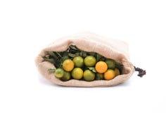 Naranja fresca en saco imágenes de archivo libres de regalías