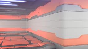 Naranja interior de los pasillos de la nave espacial de la ciencia ficción del sitio de la ficción del fondo de la ciencia, repre ilustración del vector