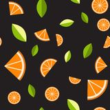 Naranja, limón en fondo negro Modelo inconsútil Ilustración del vector Fotografía de archivo
