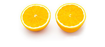 Naranja partida en dos Foto de archivo libre de regalías