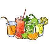 Naranja, pomelo, cal, jugo de limón y mitades de la fruta stock de ilustración