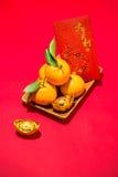 Naranja por Año Nuevo chino lunar Concepto del día de fiesta de Tet Ricos malos del texto Foto de archivo
