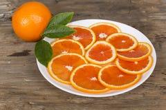 Naranja roja cortada Fotografía de archivo