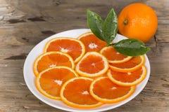 Naranja roja cortada Fotos de archivo