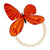 Naranja roja del marco de la mariposa stock de ilustración