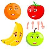 Naranja sonriente, tomate, Apple, plátano, vector sano del concepto de la consumición Ejemplo aislado de la historieta libre illustration