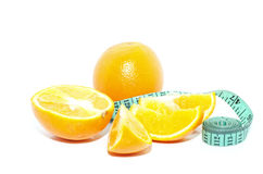 Naranja y cinta de la medida fotos de archivo libres de regalías