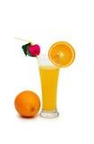 Naranja y jugo aislados Imagen de archivo libre de regalías