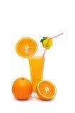 Naranja y jugo aislados Imagenes de archivo