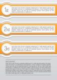 Naranja y lables infographic redondeados blanco ilustración del vector