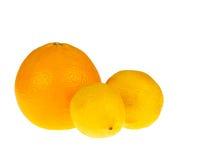 Naranja y limón en blanco Fotografía de archivo libre de regalías
