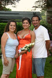 Naranja y padres de la muchacha del baile de fin de curso Fotos de archivo libres de regalías