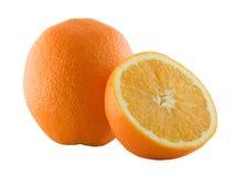 Naranja y su mitad Imágenes de archivo libres de regalías