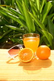 Naranjas con el zumo de naranja Fotografía de archivo libre de regalías